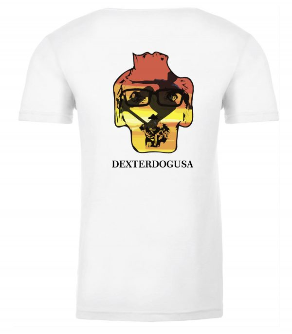 Back view of white Big Air tee featuring DexterDog
