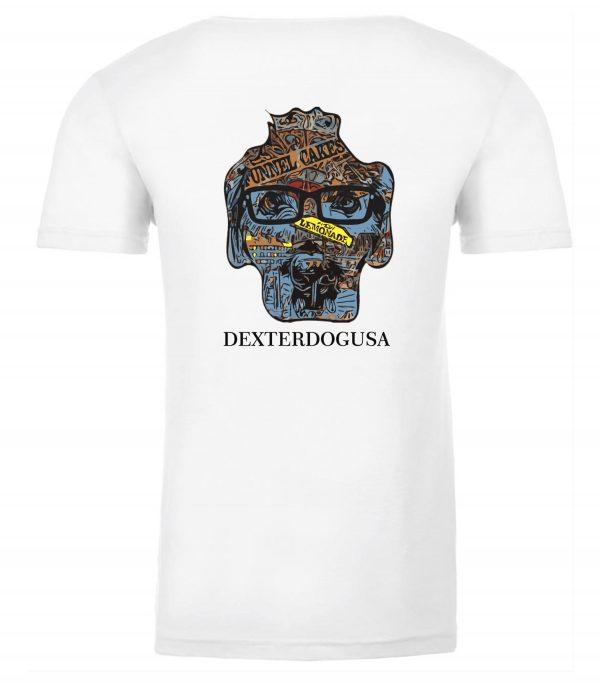 Back view of white Boardwalk Tshirt featuring DexterDog