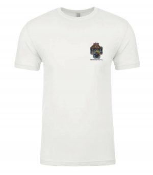 Front view of white Boardwalk Tshirt featuring DexterDog