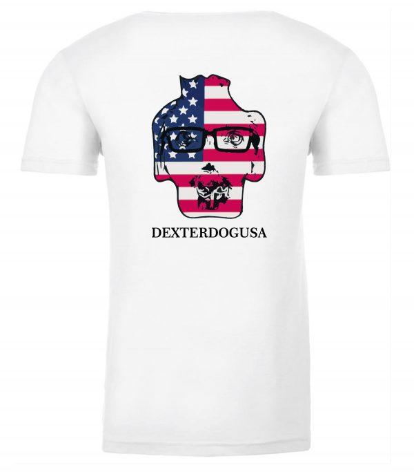 Back view of white Merica tshirt featuring DexterDog