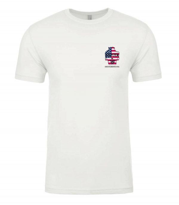 Front view of white Merica tshirt featuring DexterDog