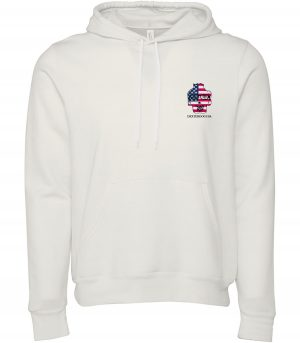 Front view of white Merica hoodie featuring DexterDog