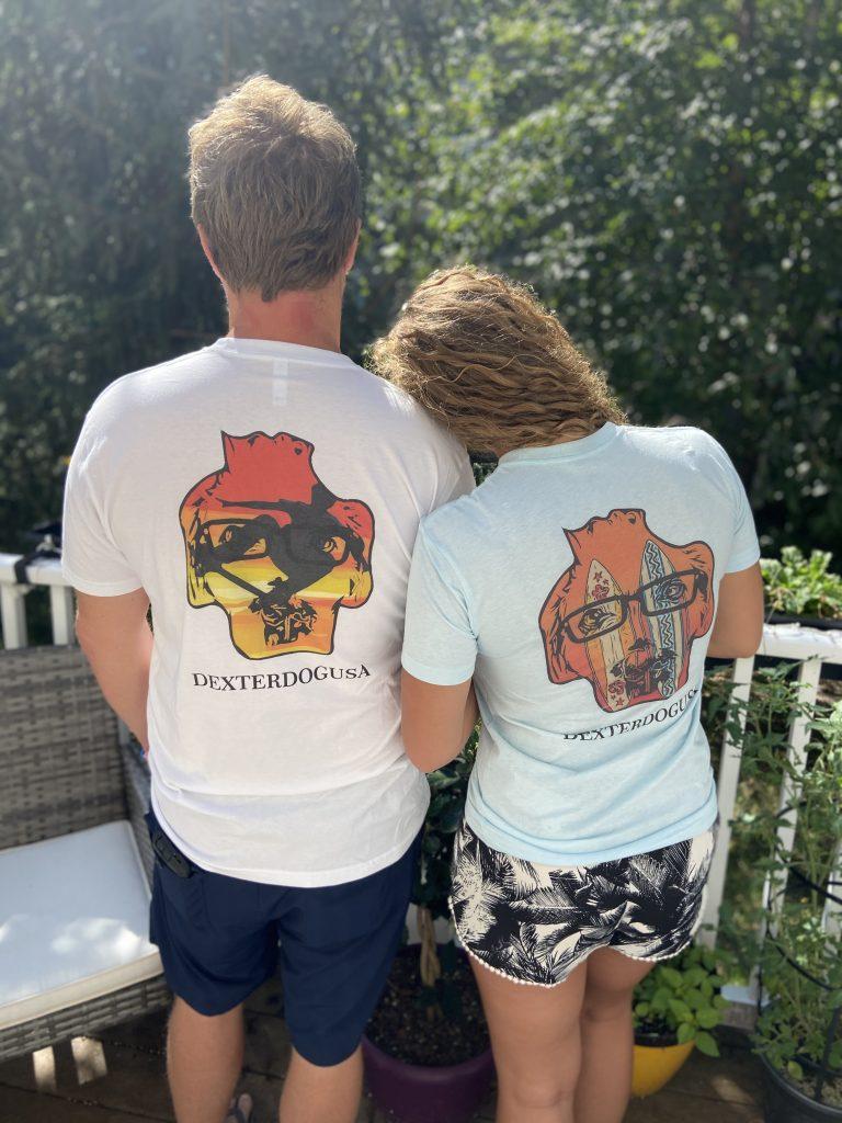 Man and woman modeling DexterDogUSA beachwear