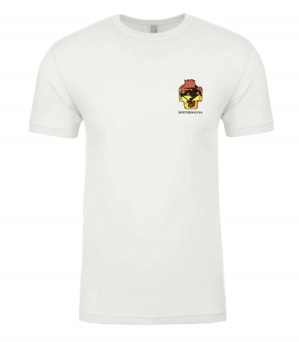 Front view of white Big Air tee featuring DexterDog