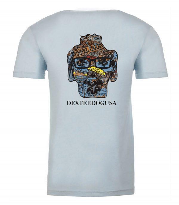 Back view of blue Boardwalk Tshirt featuring DexterDog