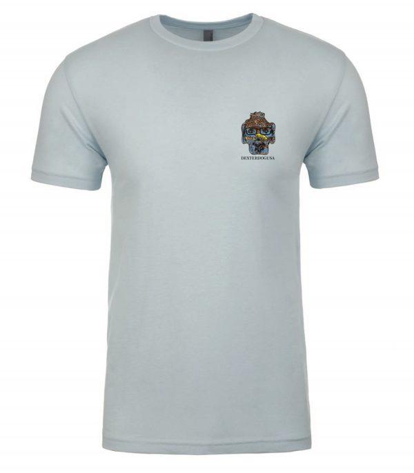 Front view of blue Boardwalk Tshirt featuring DexterDog