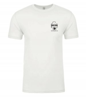 Front view of white Tshirt featuring DexterDog