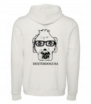 Back view of white Hoodie featuring DexterDog