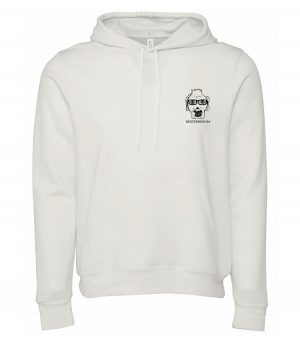 Front view of white Hoodie featuring DexterDog