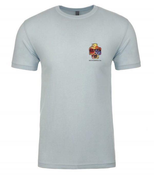 Front view of blue Hawaii tshirt featuring DexterDog