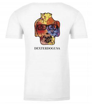 Back view of white Hawaii tshirt featuring DexterDog
