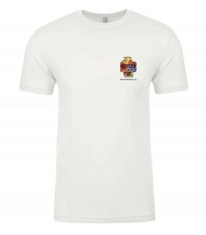 Front view of white Hawaii tshirt featuring DexterDog