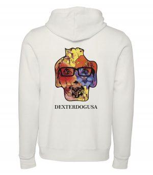 Back view of white Hawaii hoodie featuring DexterDog