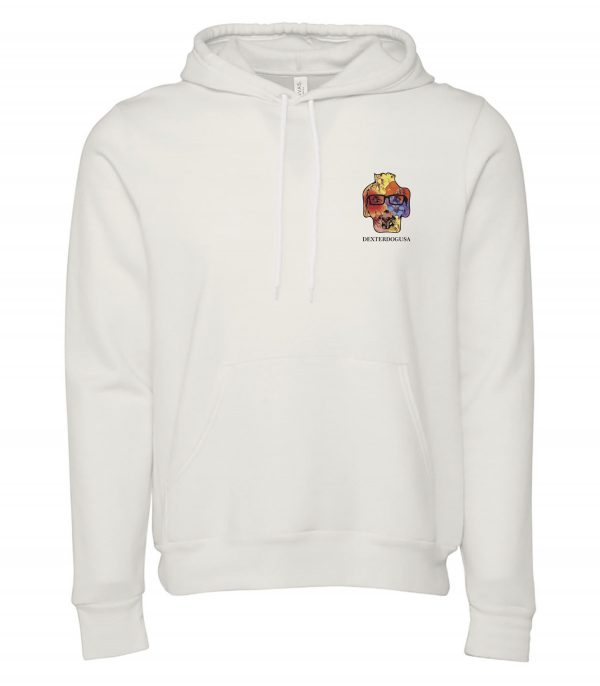 Front view of white Hawaii hoodie featuring DexterDog