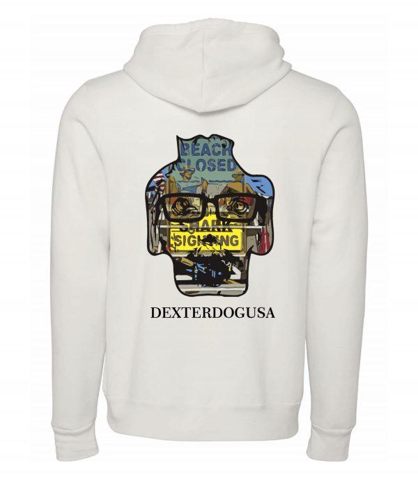 Back view of white Lifegaurds hoodie featuring DexterDog