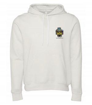Front view of white Lifegaurds hoodie featuring DexterDog