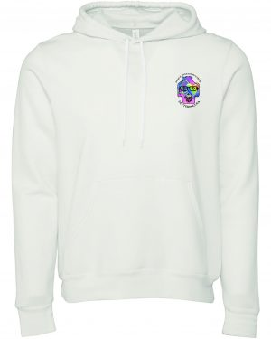 Front view of white Peace Love Good Vibes hoodie featuring DexterDog
