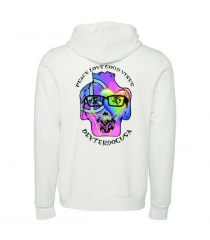 Back view of white Peace Love Good Vibes hoodie featuring DexterDog