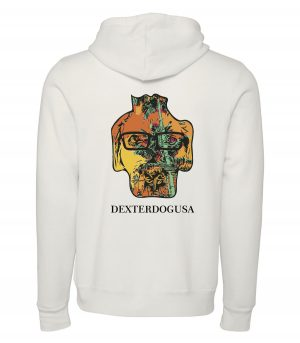 Back view of white Punta Cana hoodie featuring DexterDog