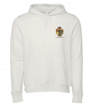 Front view of white Punta Cana hoodie featuring DexterDog