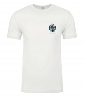 Front view of white Sharks tee featuring DexterDog