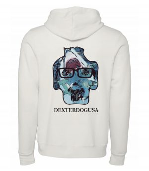 Back view of white Sharks hoodie featuring DexterDog