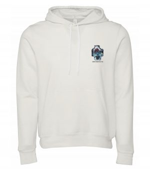 Front view of white Sharks hoodie featuring DexterDog