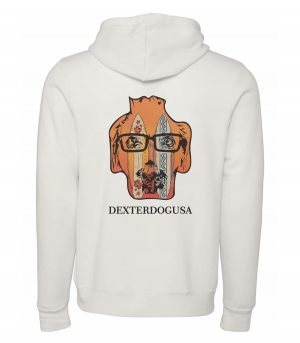 Back view of white Surfboards hoodie featuring DexterDog