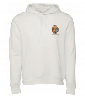 Front view of white Surfboards hoodie featuring DexterDog