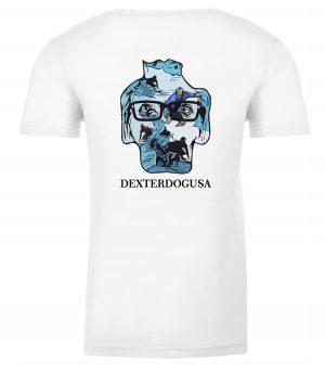 Back view of Surfing Tshirt featuring DexterDog