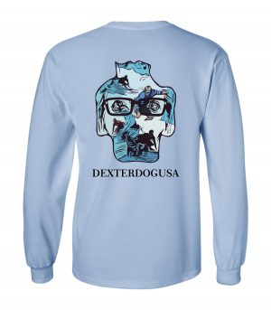 Back view of DexterDogUSA Surfing Long Sleeve Tee