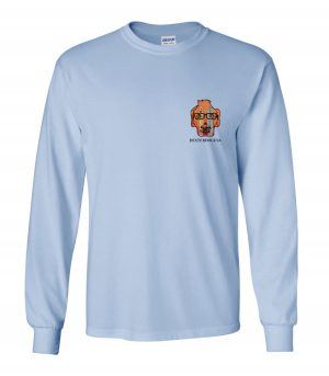 Front view of DexterDogUSA Surfboards Long Sleeve Tee