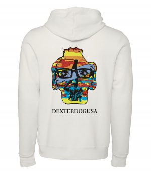 Back view of DexterDogUSA Surfer Hoodie