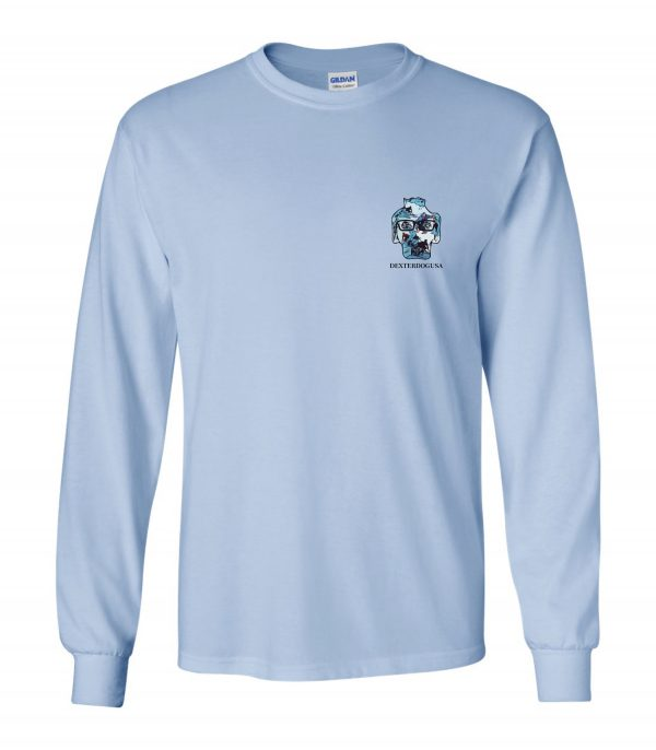 Front view of DexterDogUSA Surfing Long Sleeve Tee