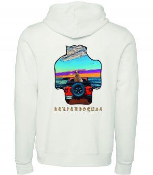 Back view of DexterDogUSA Jeep Hoodie
