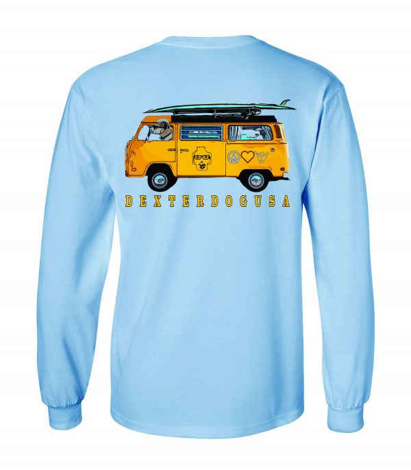Back view of DexterDogUSA Surfs Up Long Sleeve Tee