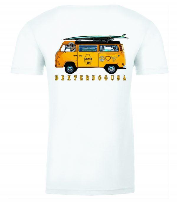 Back view of DexterDogUSA Surfs Up Tshirt